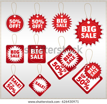 Set of ten red and white sale hanging tags. Big sale labels #626430971