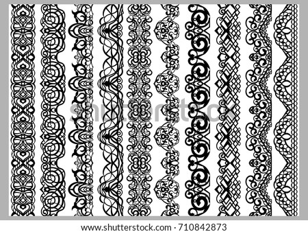 Set Of Ten Seamless Endless Decorative Lines Indian Decoration Border Elements Patterns In Black And Greek Ornament