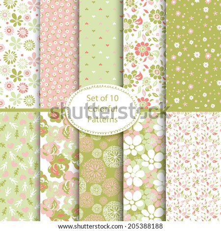 Set of ten seamless floral and hearts backgrounds