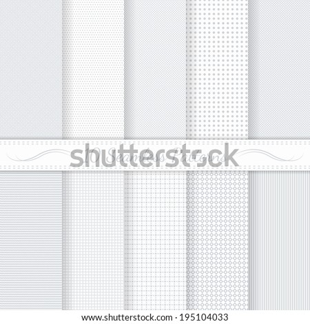 Set of ten subtle seamless patterns. Monochrome. Classic. Soft colors. Swatches of seamless patterns included in the file.