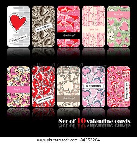 Set of ten valentine cards