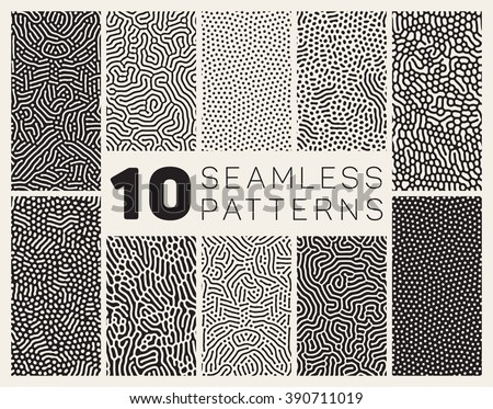 Set of Ten Vector Seamless Black and White Organic Rounded Jumble Maze Lines Patterns Abstract Background stock photo