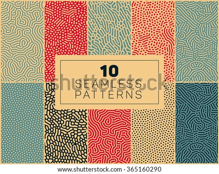 stock vector set of ten vector seamless organic rounded lines and drips biological patterns in blue red and tan 365160290 - Каталог — Фотообои «Текстуры»