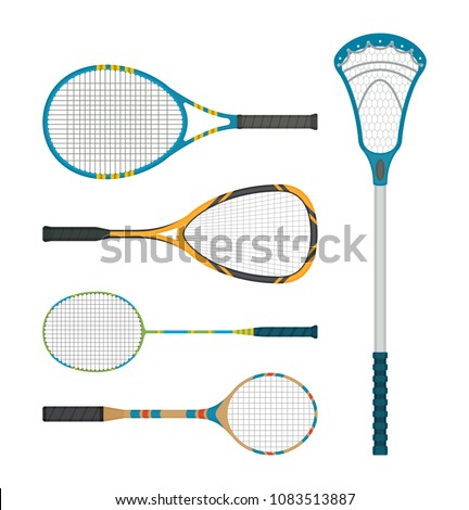 Set of tennis and lacross rackets, detailed with a shadow in a flat style