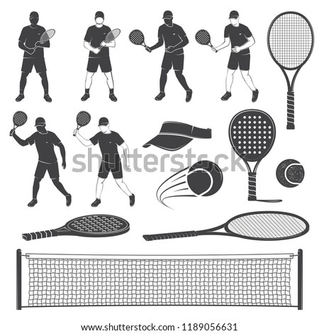 Set of tennis and paddle tennis equipment silhouettes. Vector illustration. Collection include paddle tennis racket, balls, tennis net, player and visor silhouettes.