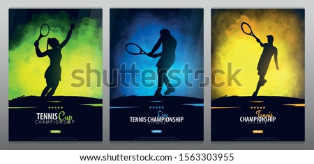 Set of Tennis Championship banners or posters, design with players and racquet. Vector illustration