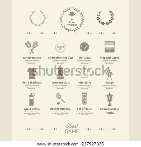 set of tennis icons. sports...