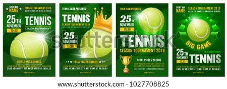 Set of tennis posters with tennis ball. Tennis tournament advertising. Sport event announcement. Place your text and emblems of participants. Vector illustration.