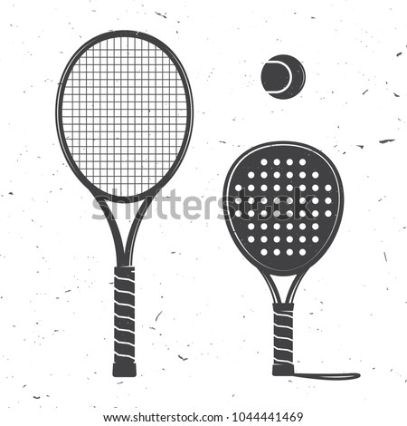 Set of tennis rackets and tennis ball icon. Vector illustration. Racquets silhouette on the white background. Сток-фото ©