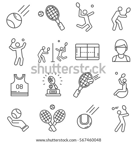 Set of tennis Related Vector Line Icons. Includes such Icons as a racket, tennis ball, playing field, sports uniform, team