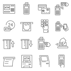 Set of terminal Related Vector Line Icons. Contains such Icons as banking machine, check, cash, electronic payment, Bank, credit card, mobile payment, ATM and more.