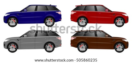 set of terrain car vehicles in