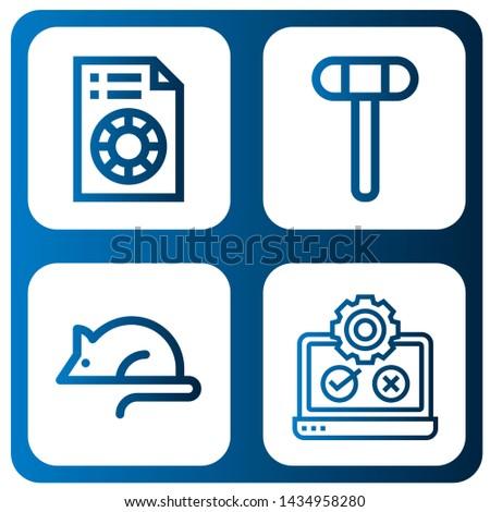 Set of testing icons such as Printing test, Reflex hammer, Animal testing, Testing ,