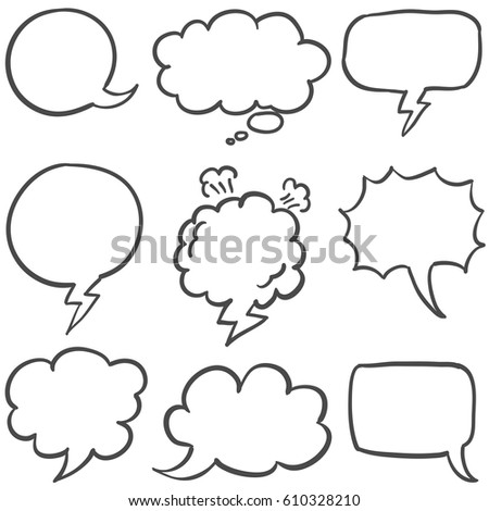 Set of text bubble collection stock