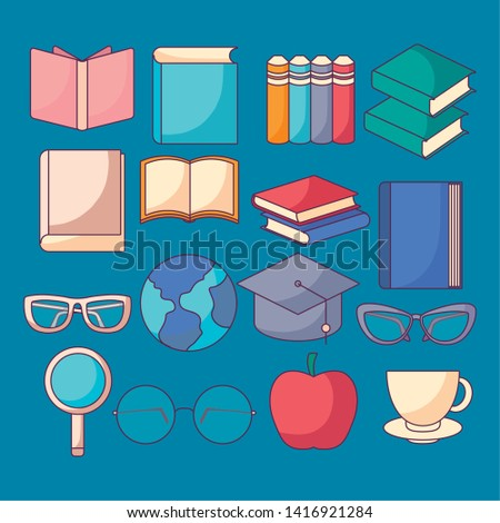 set of textbooks and education icons