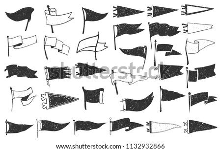 Set of textured pennants. Retro monochrome labels. Hand drawn wanderlust style. Pennant flags design Stockfoto ©