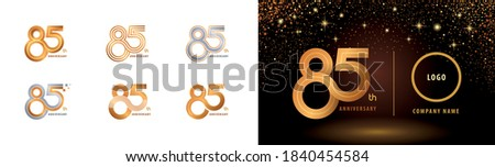 Set of 85th Anniversary logotype design, Eighty five years Celebrate Anniversary Logo multiple line for Congratulation celebration event, invitation card, greeting, Abstract 85 silver and golden logo