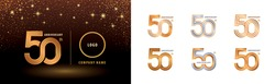 Set of 50th Anniversary logotype design, Fifty years anniversary celebration. Infinity Logo silver and golden for celebration event, invitation, greeting, web template, flyer and booklet