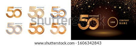 Set of 50th Anniversary logotype design, Fifty years Celebrating Anniversary Logo silver and golden for celebration event, invitation, greeting, Infinity logo vector illustration, web template, flyer Foto stock ©