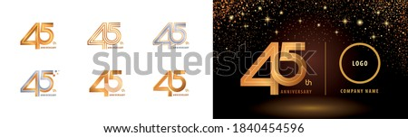 Set of 45th Anniversary logotype design, Forty five years Celebrate Anniversary Logo multiple line for Congratulation celebration event, invitation card, greeting, Abstract 45 silver and golden logo Photo stock ©