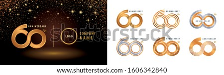 Set of 60th Anniversary logotype design, Sixty years Celebrating Anniversary Logo silver and golden for celebration event, invitation, greeting, Infinity logo vector illustration, web template, flyer Сток-фото ©