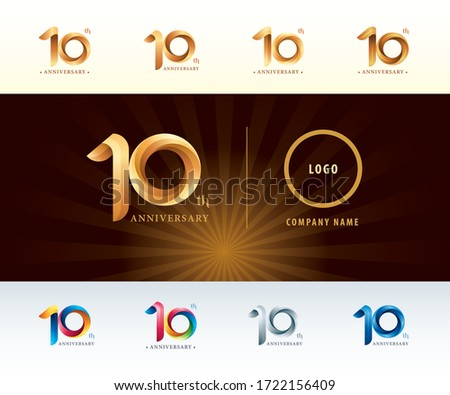 Set of 10th Anniversary logotype design, Ten years celebration Anniversary Logo silver and golden, Origami stylized Number Letters, Twist Ribbons Logo for event, invitation, greeting, Party, Fashion. ストックフォト ©