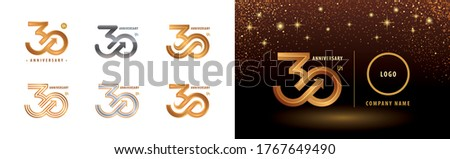 Set of 30th Anniversary logotype design, Thirty years anniversary celebration. Number 30  Logo silver and golden for celebration event, invitation, greeting, Arrow Infinity logo, template, flyer, book Stock photo ©