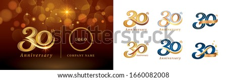 Set of 30th Anniversary logotype design, Thirty years Celebrate Anniversary Logo silver and golden, Vintage and Retro Script Number Letters, Elegant Classic Logo for Congratulation celebration event