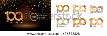 Set of 100th Anniversary logotype design,  100 Years Celebrating Anniversary Logo silver and golden for celebration event, invitation, greeting, Infinity logo vector illustration, web template, flyer