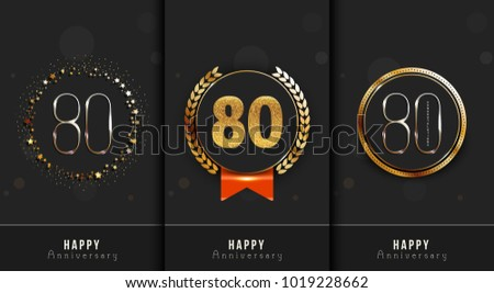 Set of 80th Happy anniversary cards template.