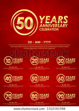 set of 10th-90th anniversary celebration emblem. anniversary logo with ring and elegance golden on red background. template design for web, booklet, leaflet, flyer, greeting card and invitation card