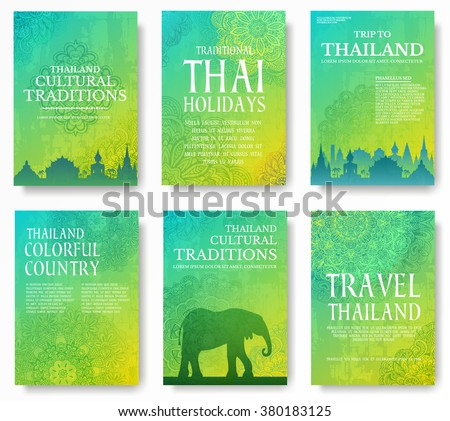 Set of Thailand country ornament illustration concept. Art traditional, poster, book, abstract, ottoman motifs, element. Vector decorative ethnic greeting card or invitation design background.