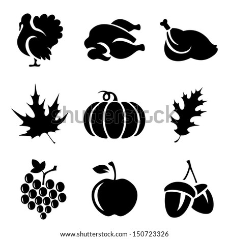 set of thanksgivin icons