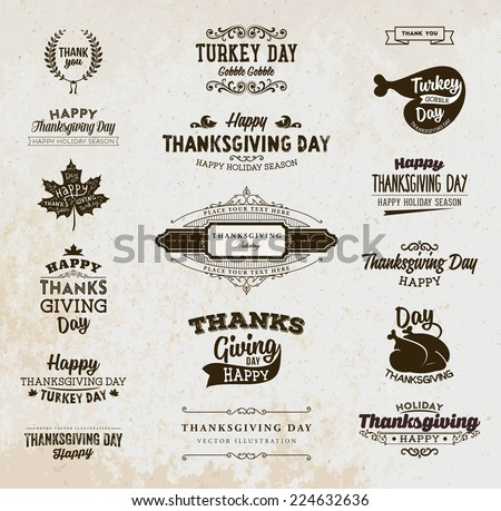 set of thanksgiving day labels
