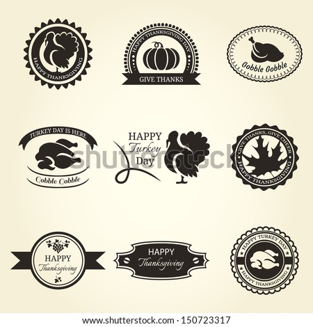 set of thanksgiving label