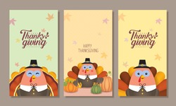 Set of Thanksgiving template for smartphone wallpaper, screensaver, poster or banner design. Cute cartoon turkey with pumpkins. Autumn give thanks flat vector illustration.