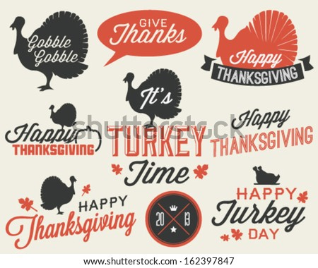 set of thanksgiving vector