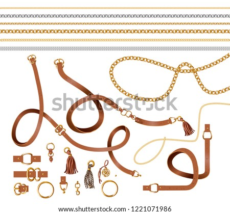 Set of the belt elements, chain and braid for fabric design. Vector