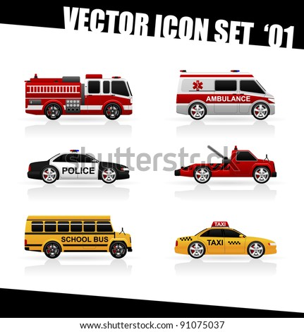 Set of the car icons in vector. Fire truck, ambulance, police car, truck for transportation faulty cars, school bus, taxi. - stock vector