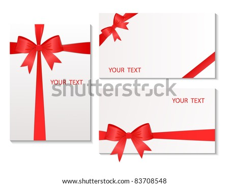 Set of the cards which have been tied up by a red tape. Vector illustration