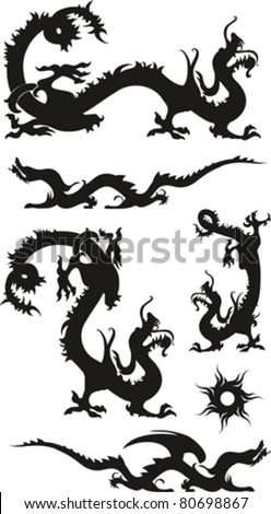 Set of the Chinese dragons, tribal tattoo isolated on White background. Vector illustration