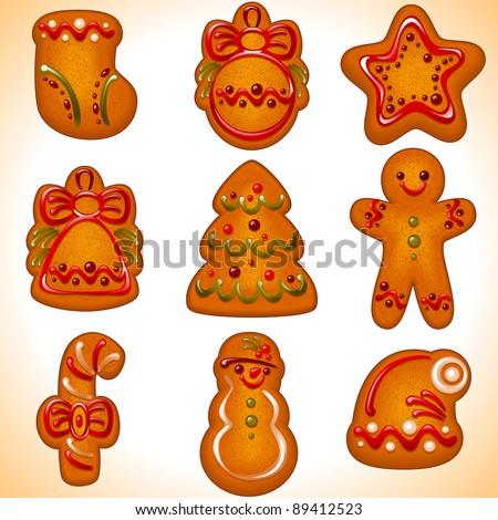 set of the Christmas cookies isolated on white background. Vector illustration - collection of christmas bakery icons: tree, ball, snowman, sock,  candy, star, man ,hat,  bell,