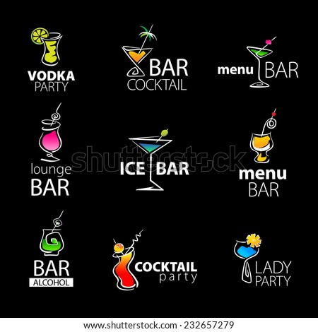 set of the cocktail bar icons