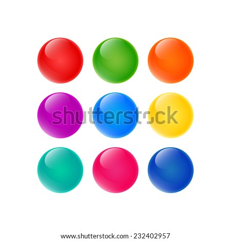 set of the colorful glossy