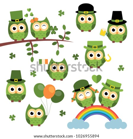 Set of the cute owls st. Patrick's Day style