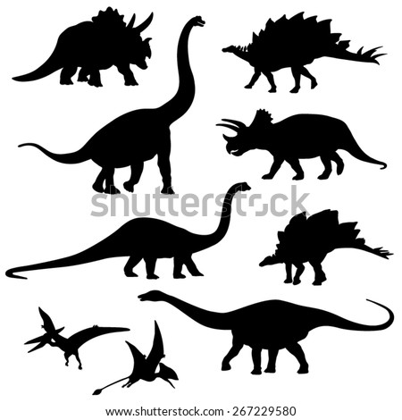 set of the dinosaur silhouette