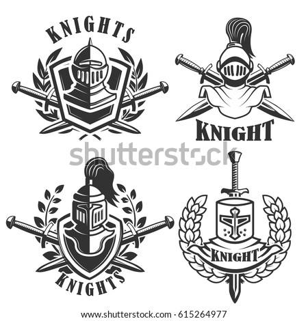 Set of the emblems with knights helmets and swords. Design elements for logo, label, badge, sign. Vector illustration