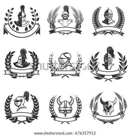set of the emblems with knights
