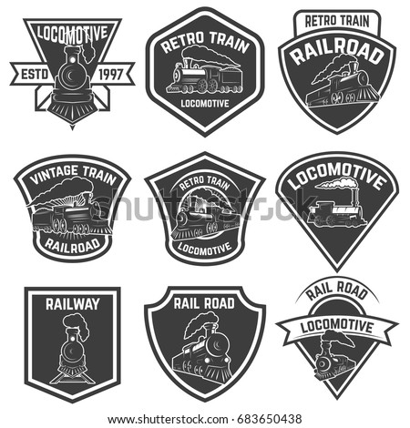set of the emblems with vintage ...