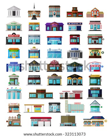 Set of the flat city buildingss and shops. Vector EPS10 illustration.